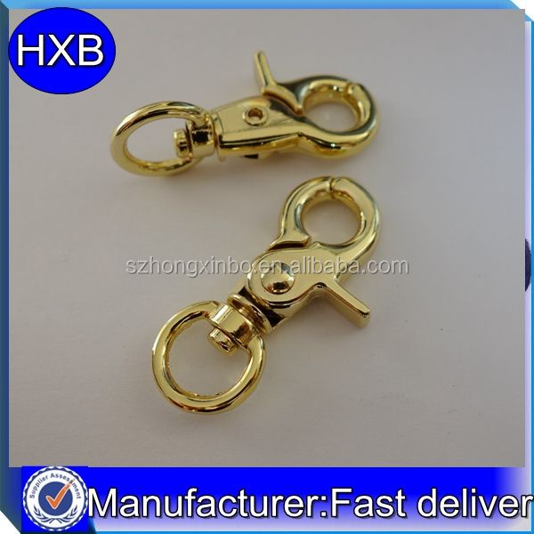 High quality gold shiny trigger snap hook bag swivel snap hook from factory