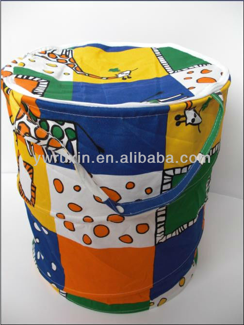 pop up round shape cloth bucket of the storage bin/pop up can shape fold up laundry bags /folding storage hamper