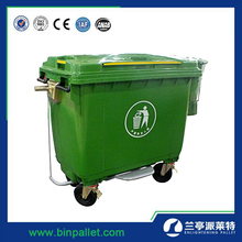Cheap outdoor plastic color coded 1100l mobile large trash dustbin waste bin