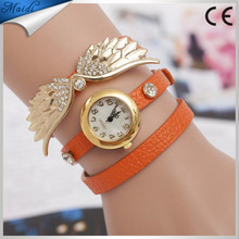 Hot Sales Angel Wings Bracelet Watch Fashion Eagle Wing Rhinestone Studded Long Leather Women Quartz Watches WW018