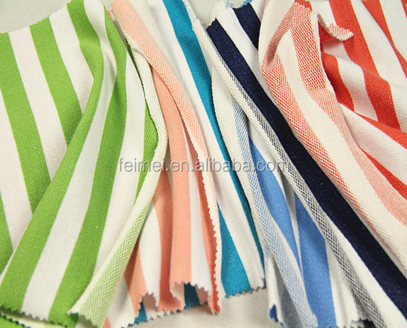Wholesale factory China CVC yarn dyed stripe french terry fabric for clothing