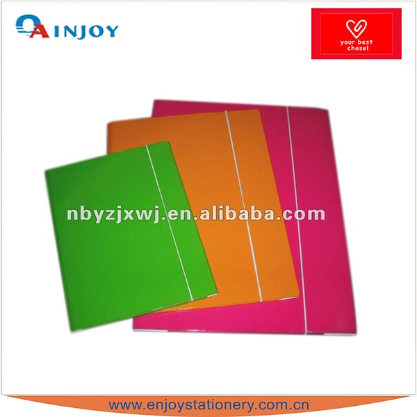 2 Hole File Folder with Elastic Band Paper Cardboard File Folder