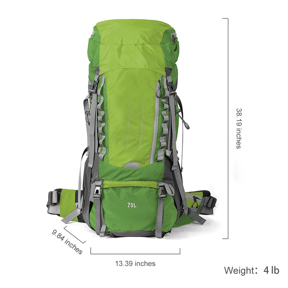 Nylon 75L Internal Frame Backpacker Hiking Backpack with Waterproof Cover