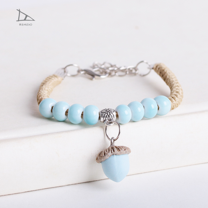 Jingdezhen New arrival jewelry fresh ceramic jewelry fresh acorn pendant bracelet