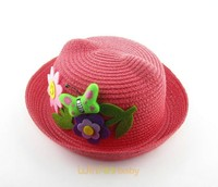 children kids cute roll brim straw hat with ears