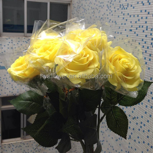 quality real touch yellow rose flower for wedding decoration for wedding car,natural rose flowers