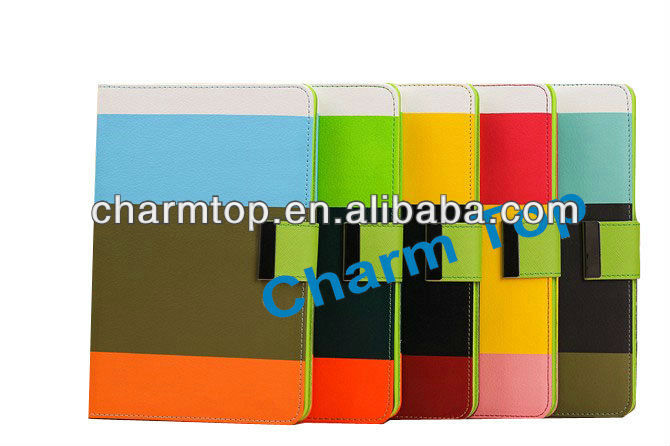 Contrast Color Leather Flip Case For iPad Mini