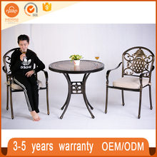 Used Outdoor Coffee Shop Casting Iron Aluminum Garden Tile Top Bronze Table And Chair Modern Furniture