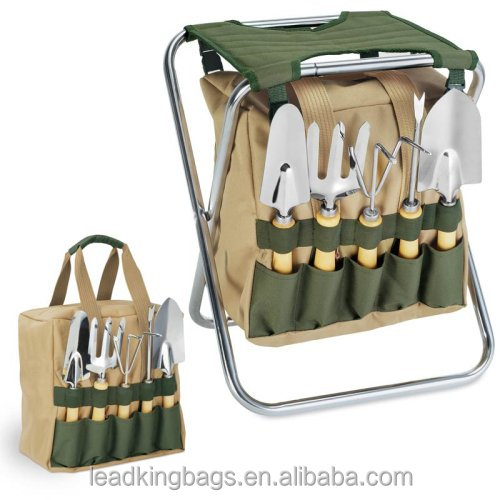Picnic time 5-Piece removable tote & folding seat garden tool bag set