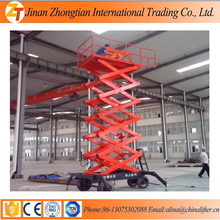 4M Mobile scissor lift with four pneumatic tire wheels warehouse mobile lifter