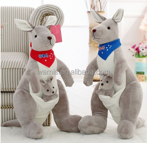 High Quality Cute Kangaroo Parenting With Baby Plush Toy Soft Cloth Dolls