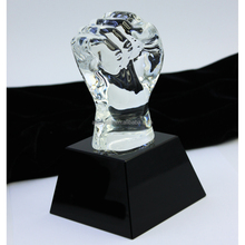 Hot sales cheap price crysta glass hand trophyies award/crystal fist trophies from Chinese factory