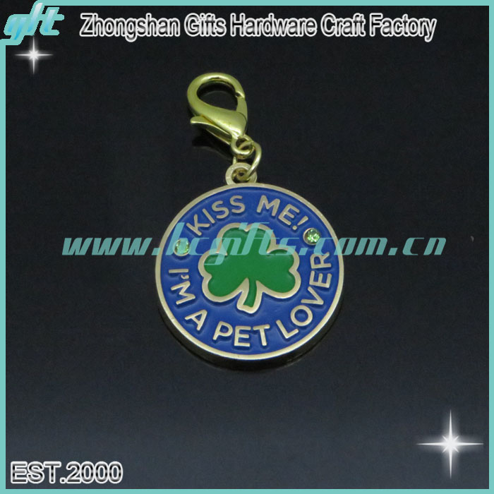 pet items customized key chains/I'm a pet lover wholesale keychain/clover pattern cheap keychain