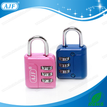 AJF High quality 3 digits metal travel number code combination bag lock padlock