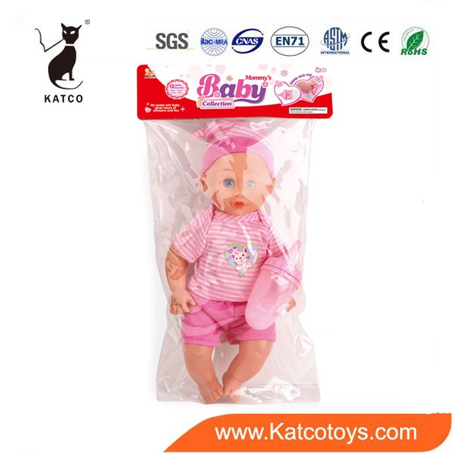 Popular Fashion Children Doll Toy And Hot Sale 12 Inch Reborn Baby Doll Toy With Feeding Bottle