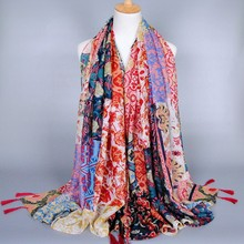 exotic to India printed kerchief scarf shawls viscose Scarves Pashmina long tassels muslim scarf/Muffler