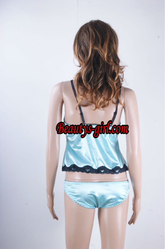 Hot Sexy Lingerie Sexy Baby Doll Blue Satin Babydoll and Open Crotch Thong