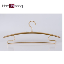 ISO9001 Matte blonde concave broad shoulder hanger with shiny chrome hooks made in China