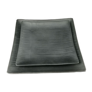 Wholesale 10 inch square Melamine black slate plate