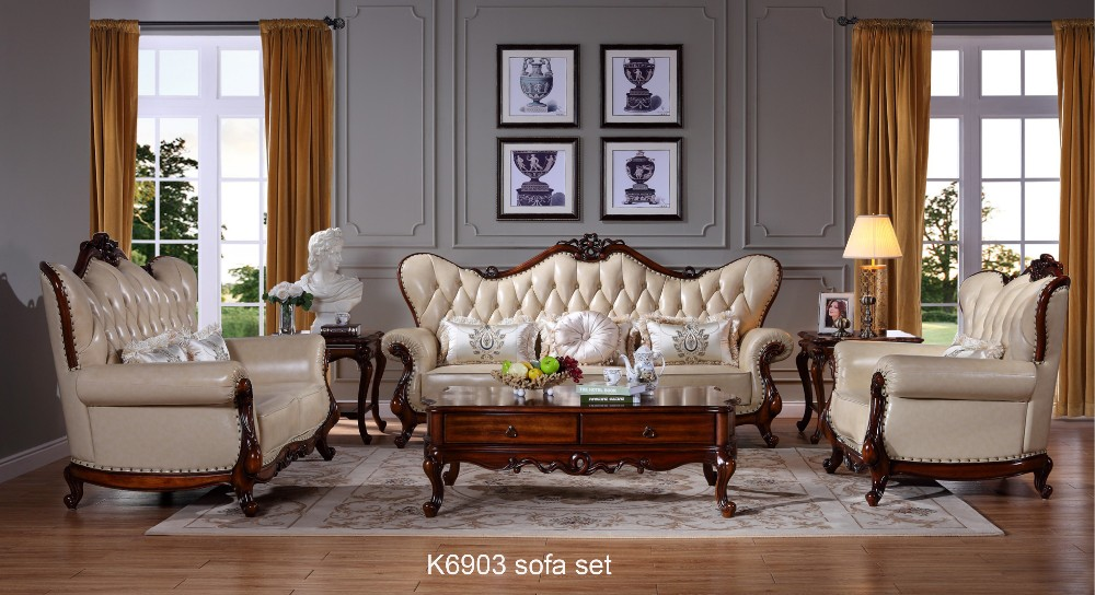 K9603 China Furniture Export Antique European Style Living Room Furniture  Red Leather Part 93