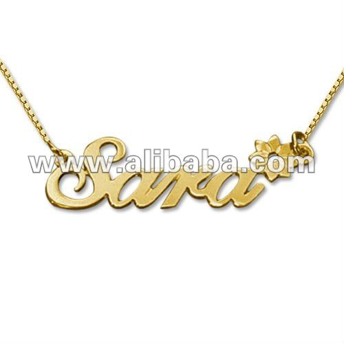18k Gold Plated Sterling Silver Sara with Flower Name Necklace