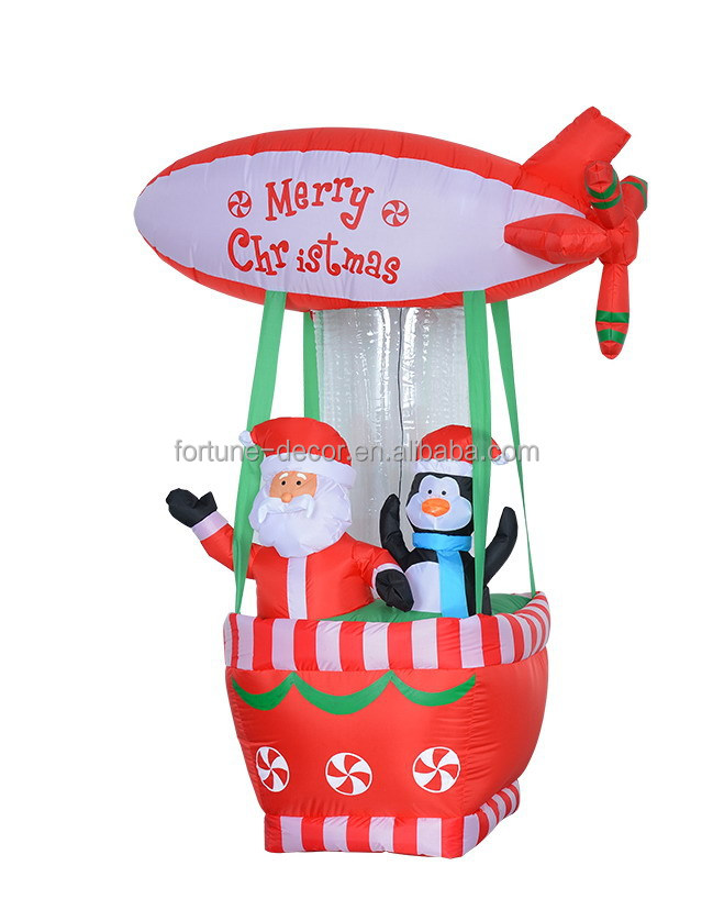180cm High polyester Christmas Inflatable Fire Balloon with santa claus and penguin
