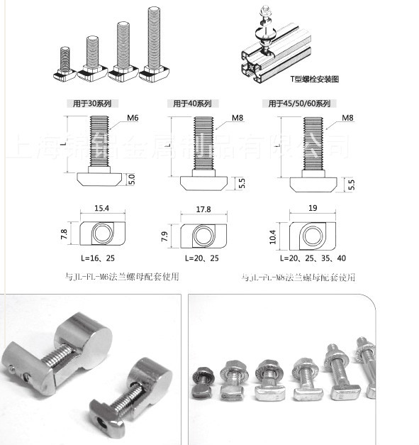 M8*16 -M8*40 mm ANSI 316 304 hammer head stainless T bolt