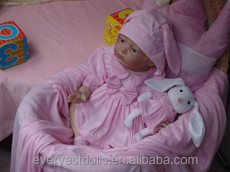 Nicery Reborn Baby Doll Soft Silicone Girl Doll 18 inch rabbit doll in hand