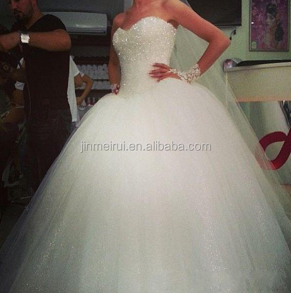 Romantic white tulles ball gown wedding dresses sequins shining sweetheart sweep train formal bridal gowns