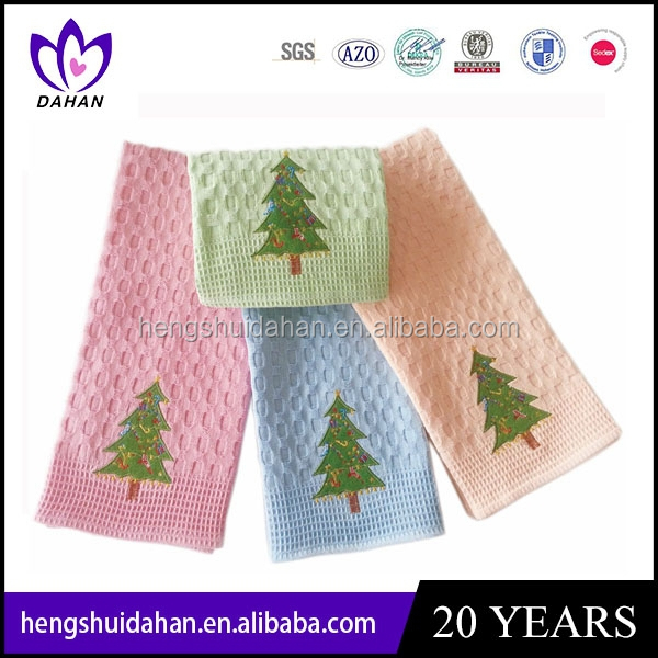 100% cotton decorative embroidery waffle kitchen towels