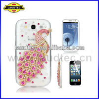 3D Bling case for Samsung Galaxy S3 SIII i9300,Rhinestone Peacock case cover---Laudtec