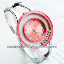 charming ladies wrist bangle watch with diamonds with japan quartz movt