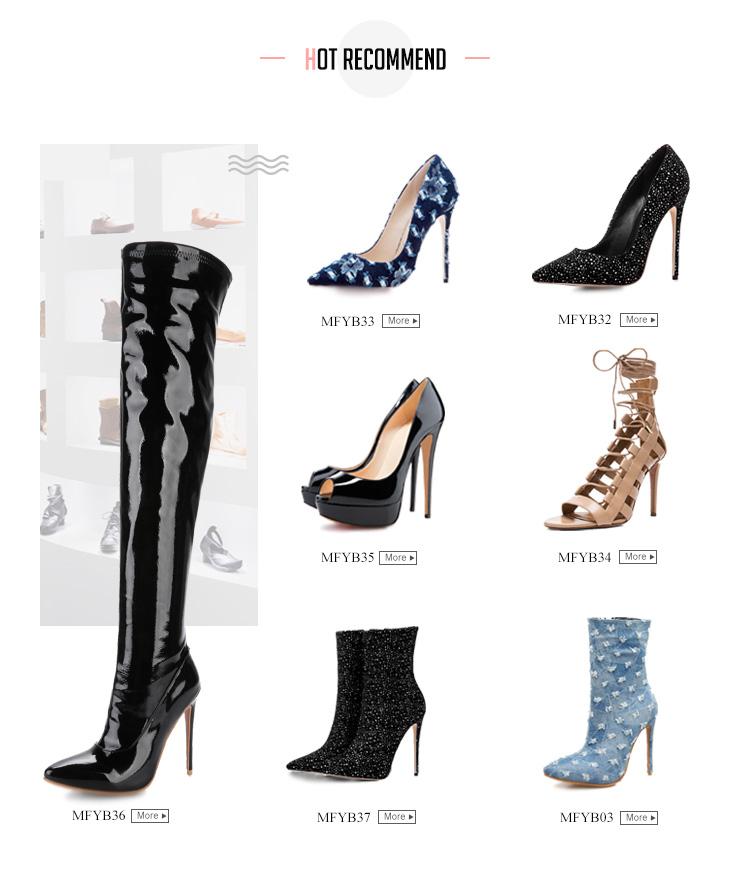 Design de mode 3.5 cm carré tête croix dentelle-up PU en daim robe dames talons hauts chaussures à la main
