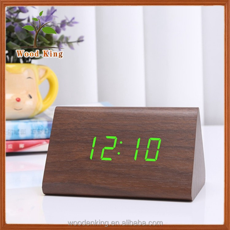 Acoustic Triangle Wooden Mute Alarm Clock Electronic Digital Led World Clock