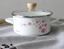 Japan client design enamel cookware with glass lid 0.7mm whith color coating