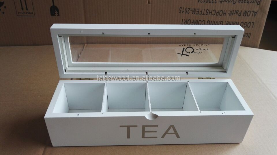 Wood Tea Box,Tea Bag Organizer , Clear any Clutter with this 8-Compartment Adjustable Storage Chest with Clear Glass Lid. Stor
