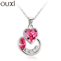 OUXI latest 2015 fashion moon curved love accessories necklace jewelry made with alloy rhodium plated 10728