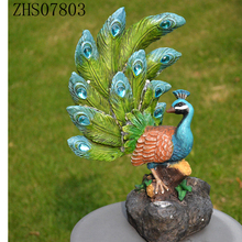 Home & Garden Northlight Colorful Green Regal Peacock Bird with Open Tail Feathers Standing Figurine solar light