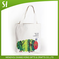 Durable Classic Books Canvas Tote bags with design of very hungry caterpillar