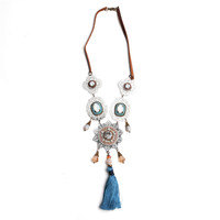 artificial necklace jewelry handmade filigree bohemian style necklace with blue tassel