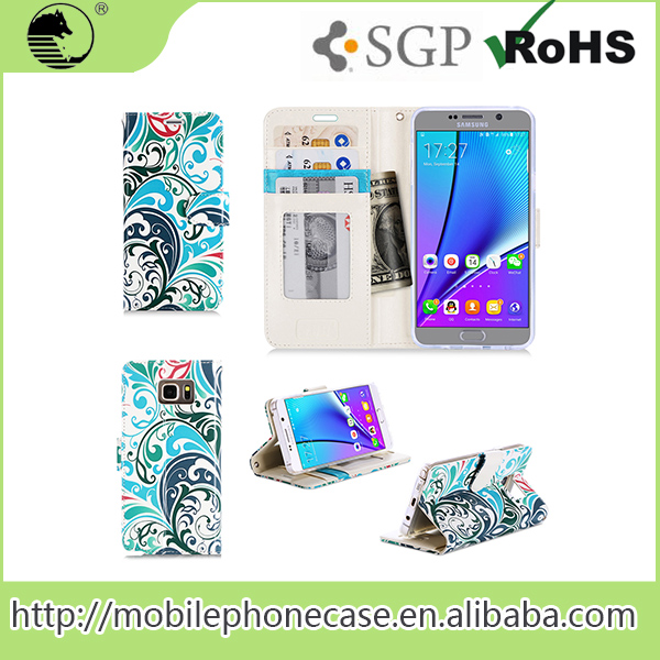 For Samsung Note 5 PU Leather Flip Mobile Phone Wallet Case