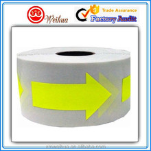 Easy Removable Yellow printed Arrow custom labels sticker in a roll