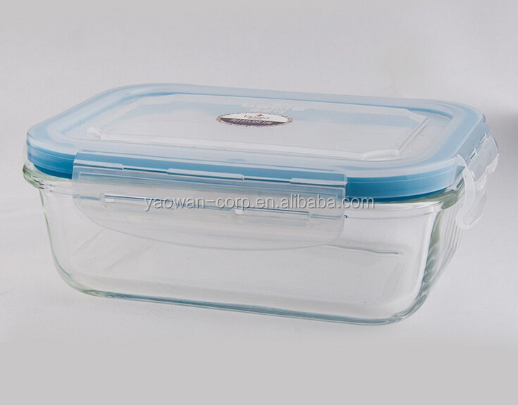 Square heat resisting borosilicate airtight glass food container 800ml