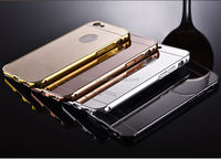 Cell phone accessory 24kt Mirror gold plating back housing meatl frame cover bumper case for iphone 6 china wholesale