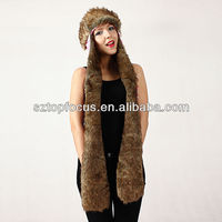 Faux Fur Ski Trapper Style Hat With Long Scarf Gloves Paws