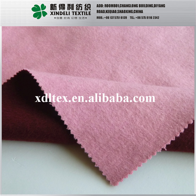 Factory supply pink color double faced brushed melton 80% synthetic 20% wool fabrics