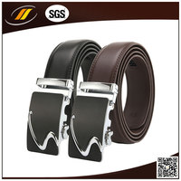S Pattern Genuine Leather Belt With Automatic Buckle
