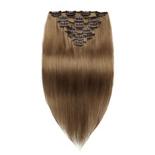 Straight Clip In Remy Peruvian Human Hair Extensions #8 Light Brown