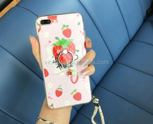 Fruit Strawberry Ring Holder Silicon Soft Case For IPhone 6 7 Plus Bracelet Rope