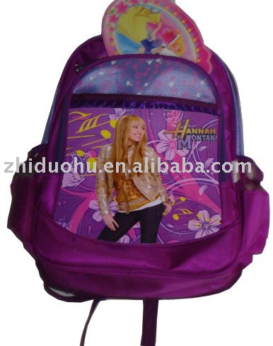 children's book bag students school bag with hannah montana printing